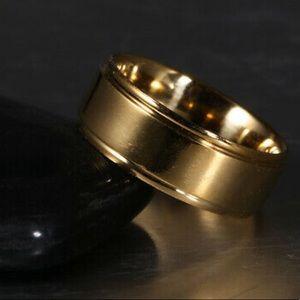 Men/Women Stainless Steel Titanium Ring Gold